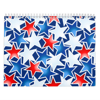 Red white and blue stars calendar