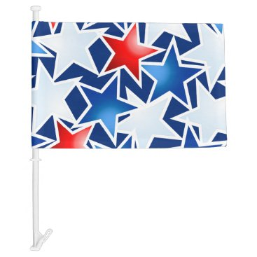 USA Themed Red white and blue stars car flag