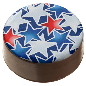 USA Themed Red white and blue stars chocolate dipped oreo