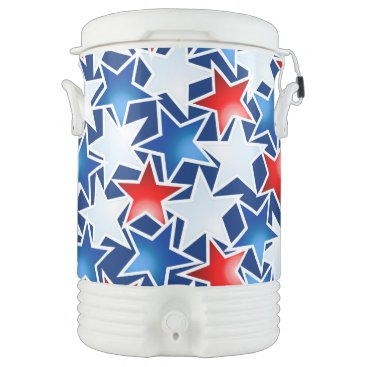 USA Themed Red white and blue stars cooler