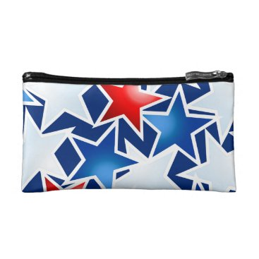 USA Themed Red white and blue stars cosmetic bag