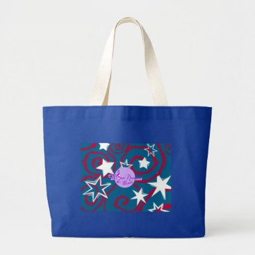 Beach Themed Red White and Blue Stars Jumbo Beach Tote