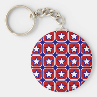 Red White and Blue Stars Keychain