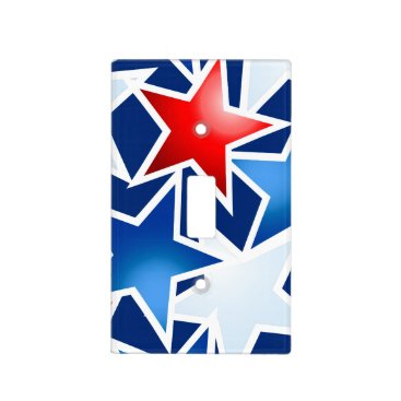USA Themed Red white and blue stars light switch cover