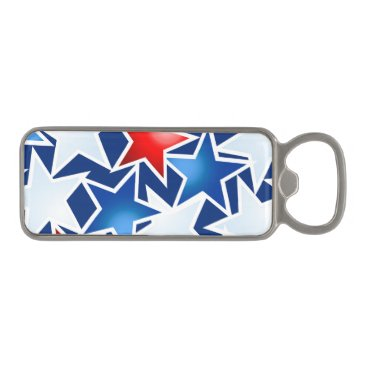 USA Themed Red white and blue stars magnetic bottle opener