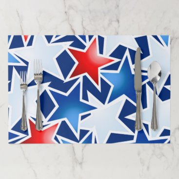 USA Themed Red white and blue stars paper placemat