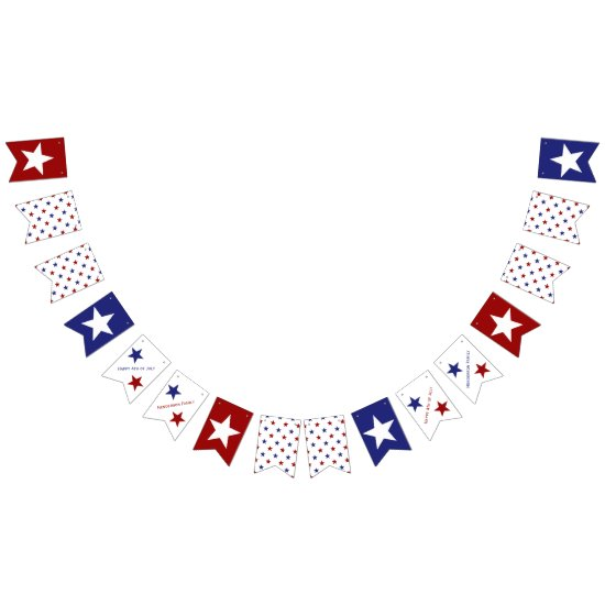 Red White and Blue Stars Personalized Bunting Flags