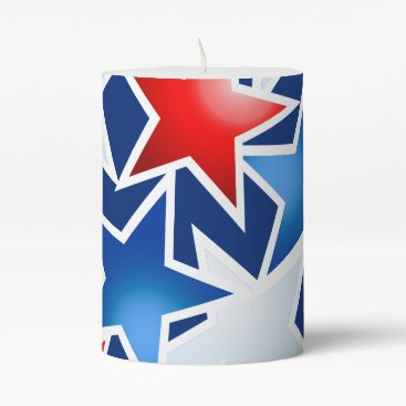 USA Themed Red white and blue stars pillar candle