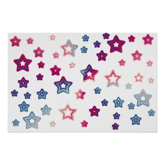 Red White And Blue Stars Poster