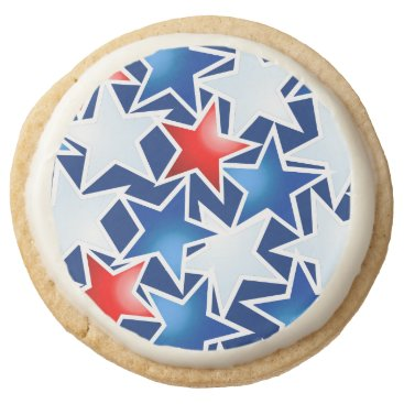 USA Themed Red white and blue stars round shortbread cookie