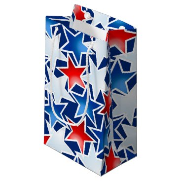 USA Themed Red white and blue stars small gift bag