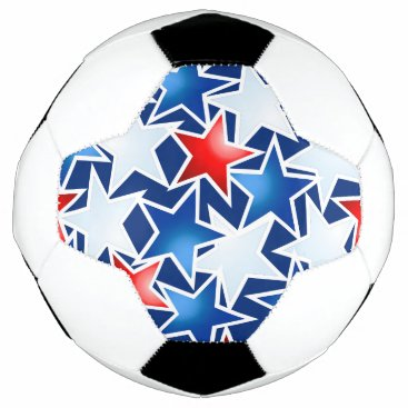 USA Themed Red white and blue stars soccer ball