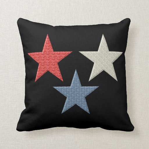Red White and Blue Stars Throw Pillow Zazzle