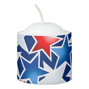 USA Themed Red white and blue stars votive candle