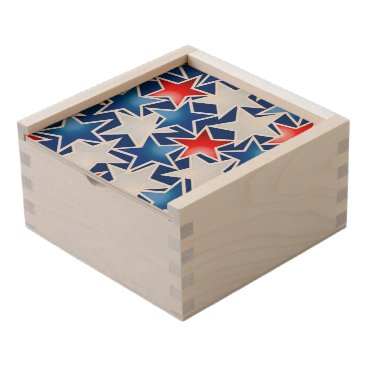 USA Themed Red white and blue stars wooden keepsake box