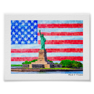 Red White And Blue Statue Of Liberty - Mini Poster