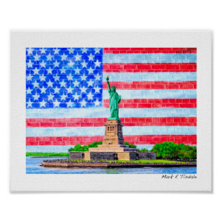 Red White And Blue Statue Of Liberty - Small Poster