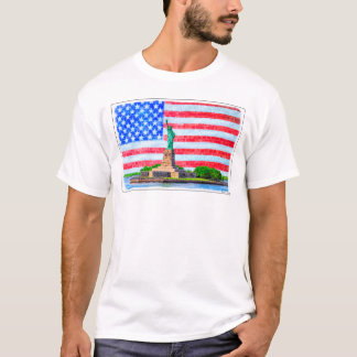 Red White And Blue Statue Of Liberty T-Shirt