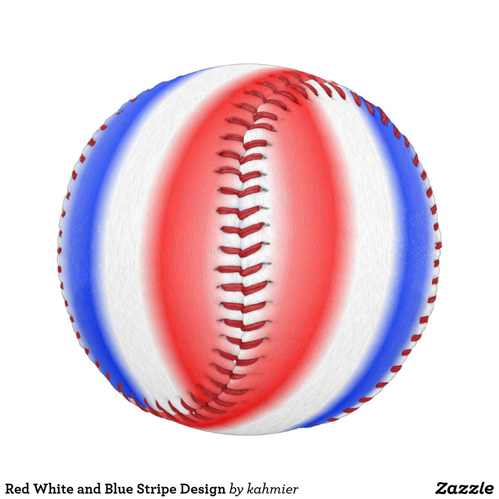 Red White and Blue Stripe Design Baseball