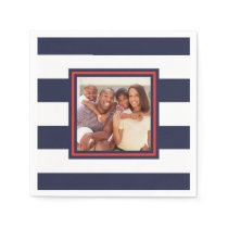 Red, White, and Blue Stripe Pattern with Photo Napkin