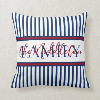 Red White and Blue Stripe Personalized Family Throw Pillow