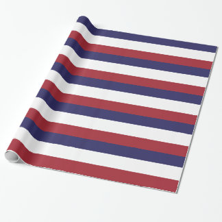Red, White and Blue Stripe Gift Wrap