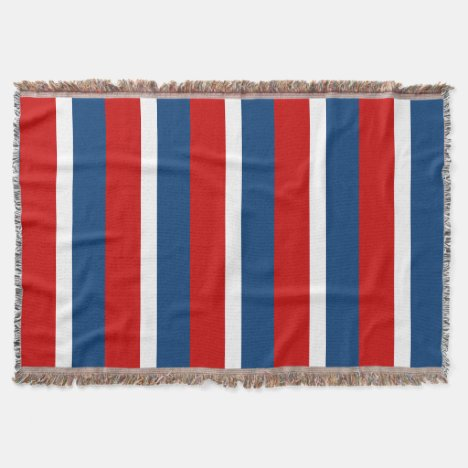 Red White and Blue Striped Throw Blanket