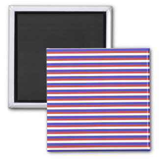 Red, White and Blue Stripes. 2 Inch Square Magnet