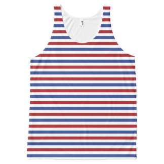 Red White and Blue Stripes All-Over Print Tank Top