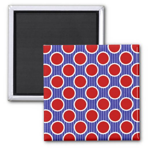 Red White and Blue Stripes and Dots Magnet