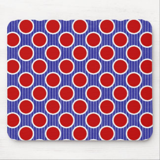 Red White and Blue Stripes and Dots Mouse Pad