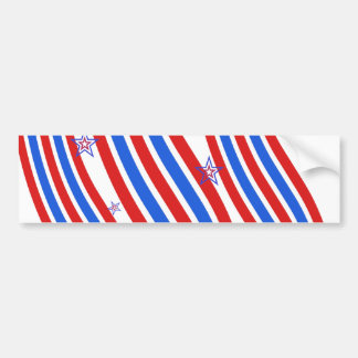 Red White and Blue Stripes and Star Bumper Sticker