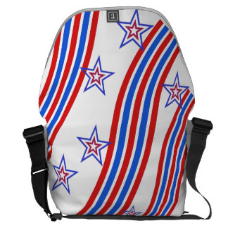 Red White and Blue Stripes and Star Courier Bag
