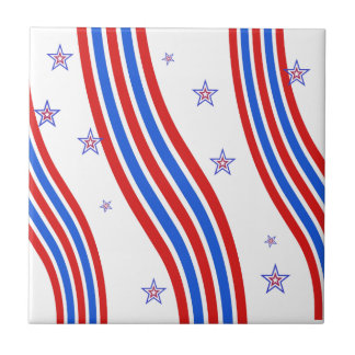 Red White and Blue Stripes and Star Small Square Tile
