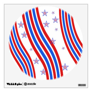 Red White and Blue Stripes and Star Wall Sticker