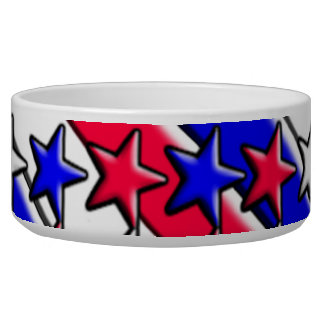 Red White and Blue Stripes and Stars Pet Bowl