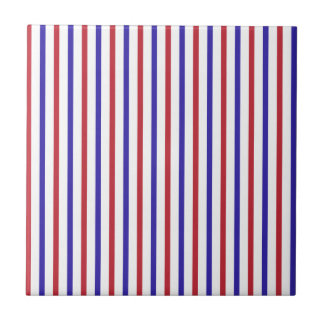 Red, White, and Blue Stripes Ceramic Tile