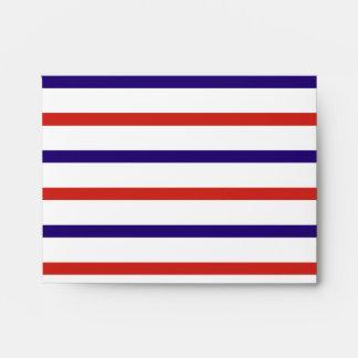 Red White and Blue Stripes Envelopes