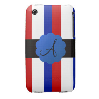 Red white and blue stripes monogram iPhone 3 cases