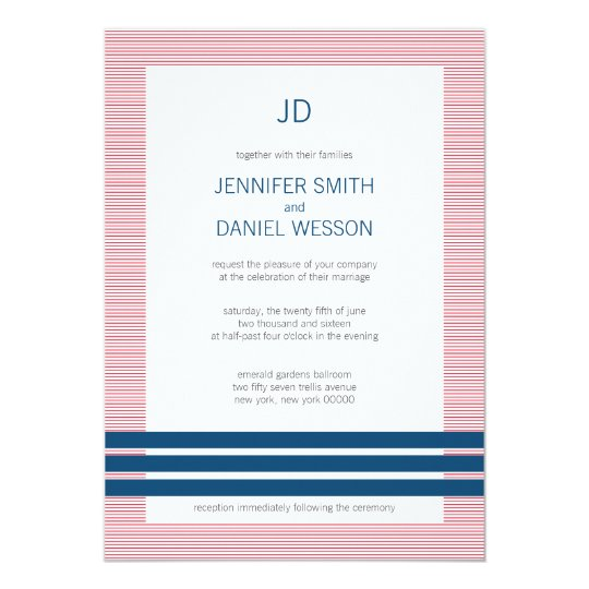 Red White And Blue Stripes Monogram Wedding Invite