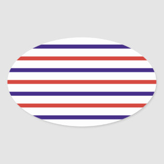 Red White and Blue Stripes Oval Sticker