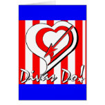 Red, White and Blue Stripes with Heart Divas Do!tm Greeting Cards