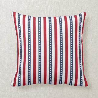 Red White and Blue Stripes with Stars Pattern Throw Pillow