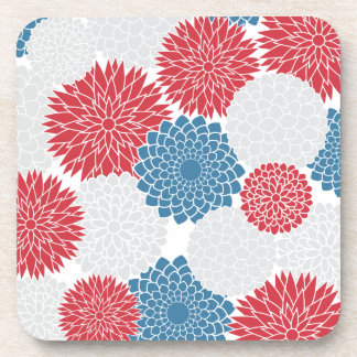 Red White and Blue Summer Flowers Beverage Coaster