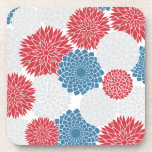 Red White and Blue Summer Flowers Coaster