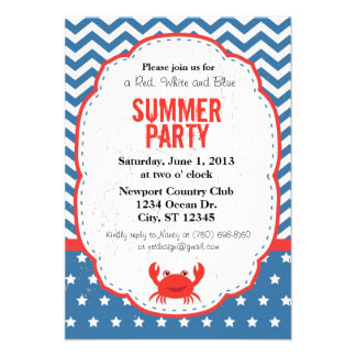 Red White and Blue Summer Party Invitation