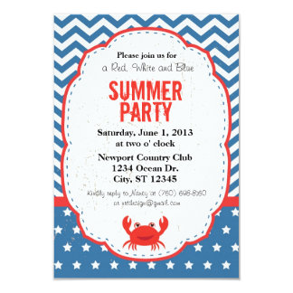 Red, White and Blue Summer Party Invitation