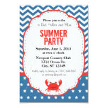 "Red, White and Blue Summer Party Invitation 3.5"" X 5"" Invitation Card"