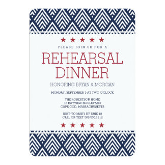 Red White and Blue Summer Rehearsal Dinner Invitation