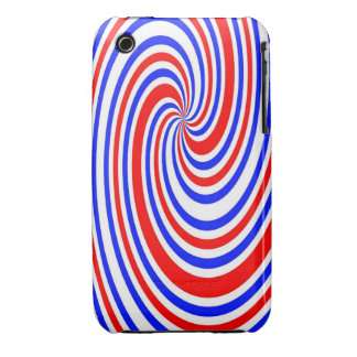 Red white and blue swirl Case-Mate iPhone 3 case